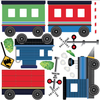 Train Wall Decals, Blue Caboose Freight Trains with Straight Railroad Track (Right Facing) Matte Fabric Repositionable Wall Declals - Wall Dressed Up - 2
