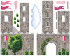 Pink Fairytale Princess Stone wall Castle Wall Decals with Turrets and Flags - Wall Dressed Up - 3