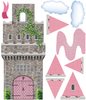 Pink Fairytale Princess Stone wall Castle Wall Decals with Turrets and Flags - Wall Dressed Up - 2
