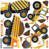 Four Construction Vehicles with Straight Gray Road and Large Construction Site Wall Decals - Wall Dressed Up