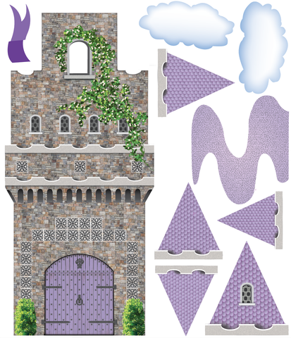 purple fairytale princess stone castle wall decals with turrets and flags wall dressed up - Purple Castle 2016