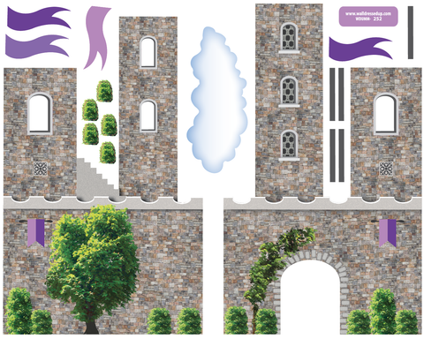 ... Purple Fairytale Princess Stone Castle Wall Decals With Turrets And  Flags   Wall Dressed Up