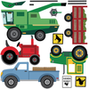 Farm Scene plus Four Farm Vehicle Wall Decals plus Gray Straight Road - Wall Dressed Up - 4