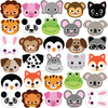 30 Animal Emoji Fabric Wall Decals, Removable and Reusable - Wall Dressed Up