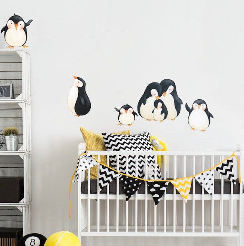 Penguins At Play Wall Decals Fabric Matte Eco Friendly Repositionable