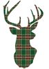 Red or Green Plaid Deer Trophy Holiday Wall Decal in 2 sizes - Wall Dressed Up - 2