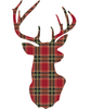 Red or Green Plaid Deer Trophy Holiday Wall Decal in 2 sizes - Wall Dressed Up - 3