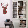 Red or Green Plaid Deer Trophy Holiday Wall Decal in 2 sizes - Wall Dressed Up