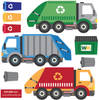 Garbage Truck and Recycling Truck Wall Decals with Gray Road, Peel and Stick Eco-Friendly Wall Decal Stickers - Wall Dressed Up - 3