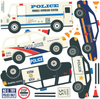 Five Police Vehicle Wall Decals, Straight & Curved Road, Eco-Friendly Fabric Wall Stickers - Wall Dressed Up