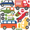 Busy Transportation Town Wall Decals with Adventure Cars and Straight Gray Road