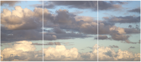 sky with clouds tryptic photograph wall decals matte removable and re