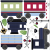 Navy Caboose Freight Trains, 15 ft Straight RR Track, Fabric Wall Decals Co 2 - Wall Dressed Up