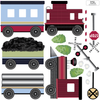 Red Caboose Freight Train Wall Decals & Railroad Track Straight & Curved (Left Facing) Col. 2