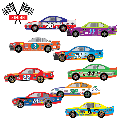 9 Race Car Wall Decals, Checkered Flags, Matte Removable Racing Decals