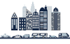 Cityscape Wall Decal, Navy, Gray & White City Skyline with Cars and City Street