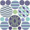 Patterned Dots Wall Decals, Purple, Aqua and Green Dot Wall Stickers, Removable