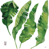 8 Medium Banana Leaves Wall Decals, Matte Fabric Tropical Decals