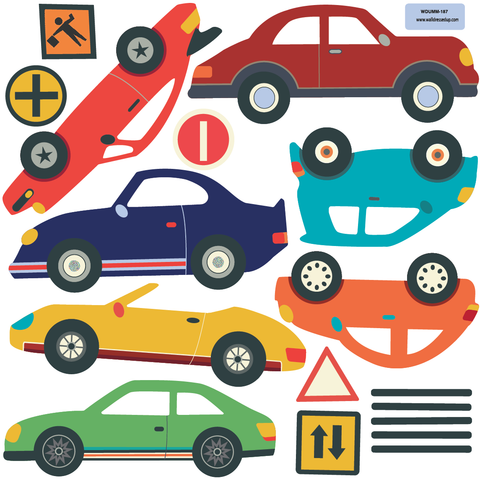 Cars Trucks  EMS Vehicles Wall Decals Plus Gray Road Curved And - Graphics for cars and trucks