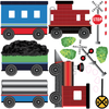 2 Freight Trains, Train Station and Tunnel Wall Decals with Straight & Curved Railroad Track Col.1 - Wall Dressed Up