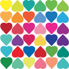 36 Rainbow Heart and 35 Gold Metallic Heart Wall Decals - Wall Dressed Up