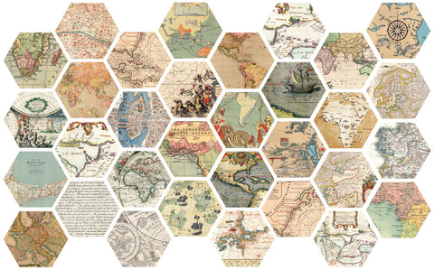 32 Hexagon Map Wall Decals Peel and Stick Vintage World Map Wall Stic