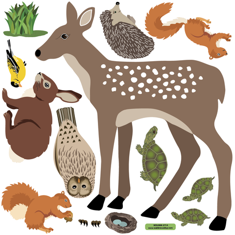 Large Woodland Animal Wall Decals, Eco-Friendly Peel and Stick Fabric Stickers