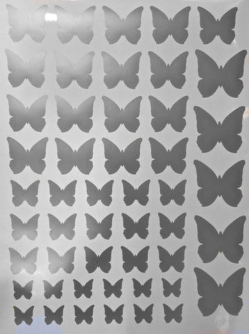 Metallic Wall Decals 50 metallic silver butterfly vinyl wall decals – wall dressed up