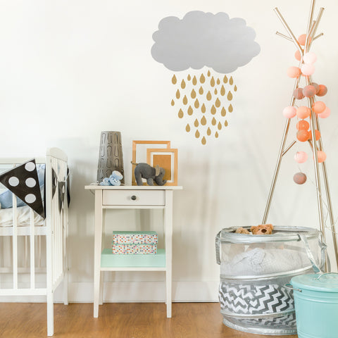 Silver Lining Cloud with Gold Metallic Vinyl Wall Decals - Wall Dressed Up
