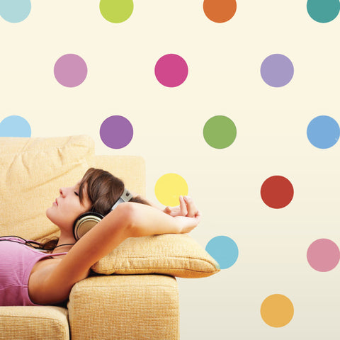 16 Colors Polka Dot Fabric Wall Decals - Wall Dressed Up - 1