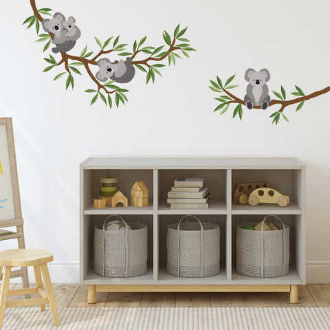 Koala Wall Stickers with Branch and Leaves, Koala Wall decals, Nursery Wall Decals, Animal Decals, Eco Friendly Wall Stickers