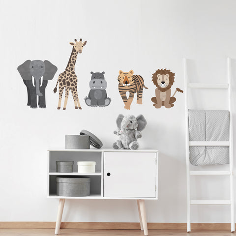 Safari Animal Wall Decals, Nursery Wall Decals, Lion Tiger Elephant Jungle Wall Stickers - Wall Dressed Up
