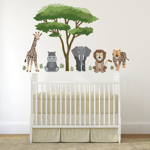Safari Animal Wall Decals and Acacia Tree Decals, Nursery Wall Decals, Jungle Wall Stickers, African Animal Wall Decals - Wall Dressed Up
