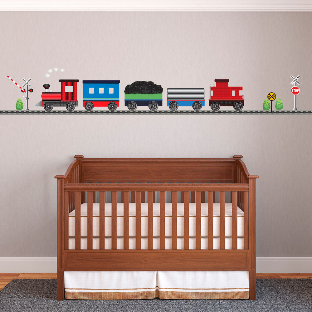 Red Caboose Freight Train Wall Decals With Straight RR Track (Left Facing)    Wall