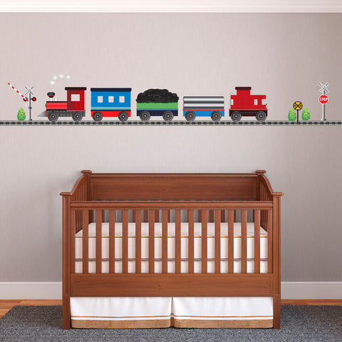 Red Caboose Freight Train Wall Decals with Straight RR Track (Left Facing) - Wall Dressed Up - 1