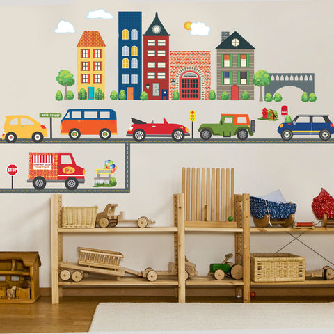 Busy Transportation Town Wall Decals with Adventure Cars and Straight Gray Road - Wall Dressed Up