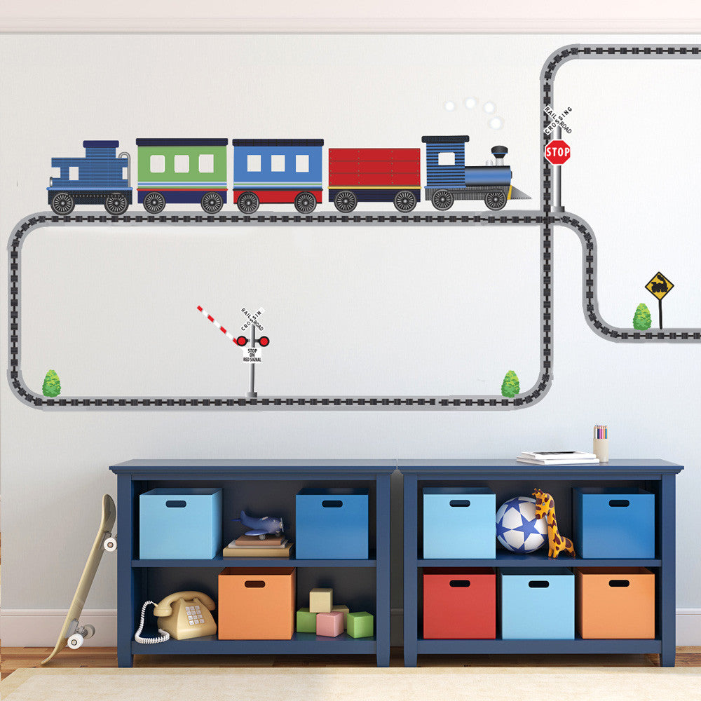 Elegant Blue Caboose Freight Train Wall Decals Straight And Curved Railroad Track  (Right Facing)