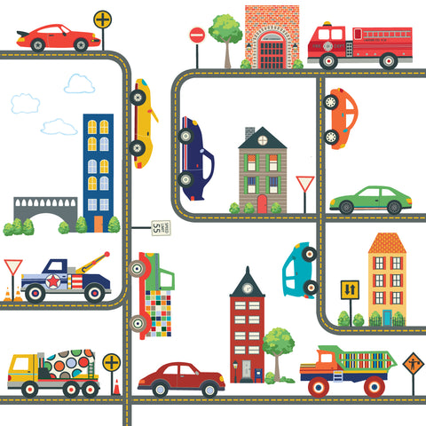 Cars, Trucks, Busy Transportation Town plus Gray Road Wall Decals Curved and Straight - Wall Dressed Up