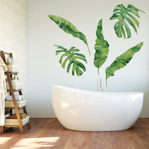 5 Tropical Palm Leaves & Banana Leaves Wall Decals, Monstera Leaf Wall Stickers - Wall Dressed Up