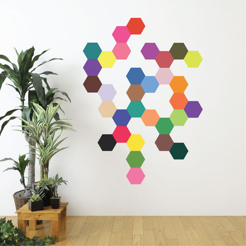 Wall Decals Hexagons 32 Mod Multi-color Solid Honeycomb Wall Decals - Wall Dressed Up