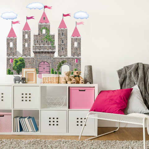 Pink Fairytale Princess Stone Castle Wall Decals with Turrets and Flags - Wall Dressed Up
