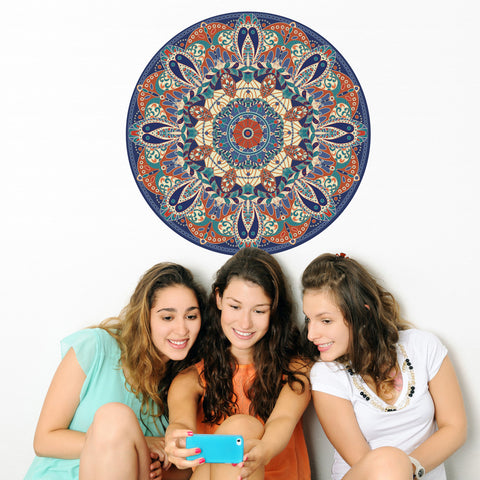 "Boho Tapestry Medallion Fabric Wall Decal 24"" or 36"" - Wall Dressed Up"