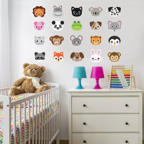 20 Large Animal Emoji Wall Decals - Wall Dressed Up