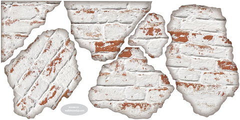 Faux White Brick Breakaway Fabric Wall Decals ... Part 91