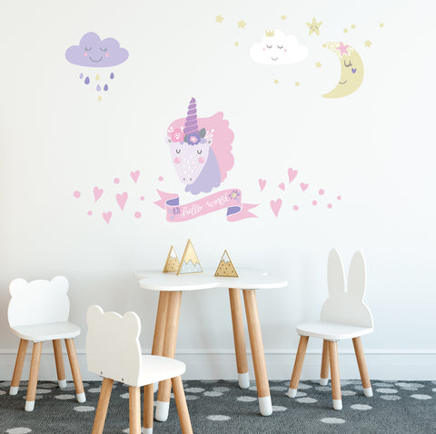 Magical Unicorn Decals, 5 Eco-Friendly Pastel Wall Decals in Scandinavian Style - Wall Dressed Up
