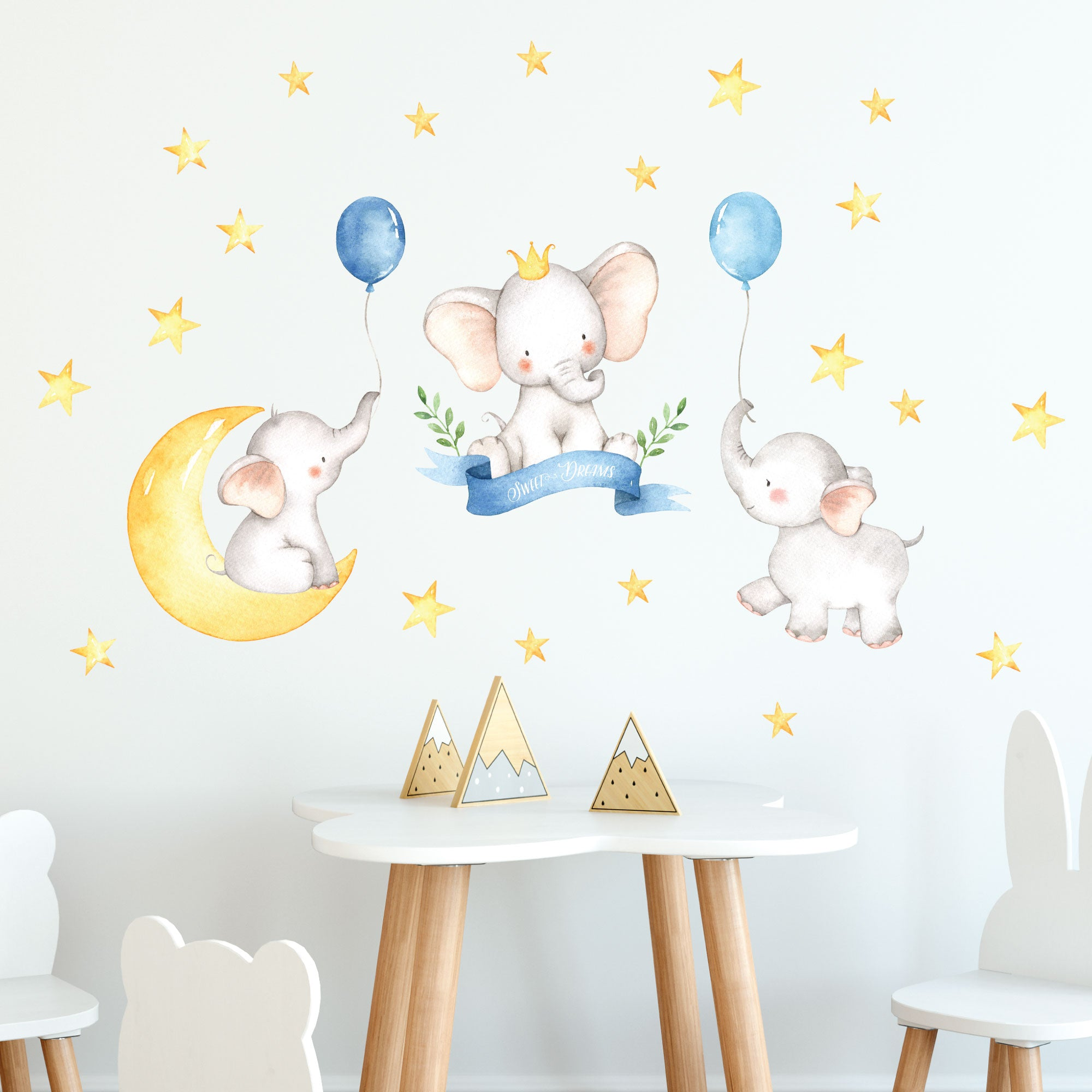 Baby Elephants Wall Stickers Watercolor Elephant Decals Unisex Nursery