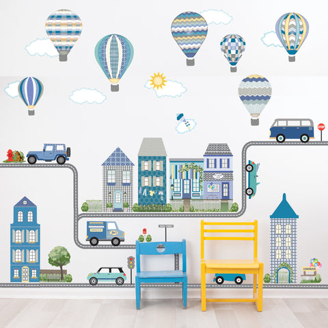 Large Blue Town Wall Decals, Hot AIr Balloon Decals and Clouds, Cars with Straight and Curved Road (30 ft plus Curves) Eco Friendly Removable Wall Stickers, Col.2