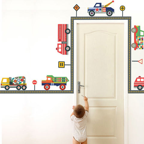 Terrific Truck and Straight Gray Road Wall Decals - Wall Dressed Up