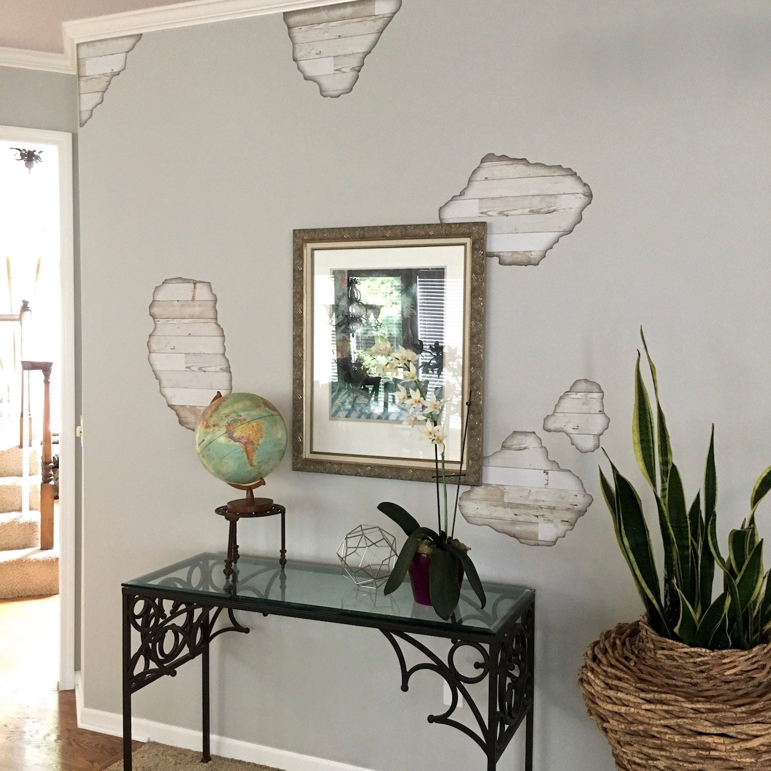 Wall Decals Faux Shiplap Weathered White Wood Breakaway