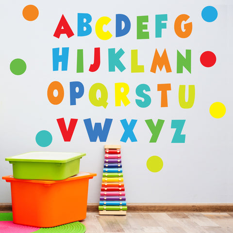 Rainbow Brights Alphabet Wall Decals, ABC's, Eco Friendly Nursery Decor, ABC Wall Stickers, Kids Room Wall Decals - Wall Dressed Up
